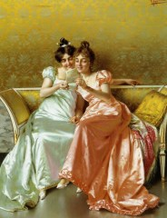 Portrait - Painting - Women reading a letter on a couch-784x1024